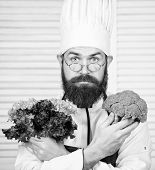 Organic Vegetables. Healthy Nutrition Concept. Bearded Professional Chef Cooking Healthy Food. Healt poster
