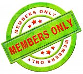 members only restricted area vip access membership icon or label in red text isolated on white close