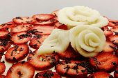 Close-up Strawberry Cake With Roses