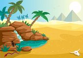 picture of oasis  - Cartoon illustration of small oasis in the Sahara desert. A4 proportions.