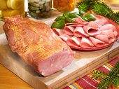 Gammon On Cutting Board With Preserves