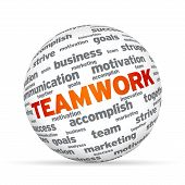 foto of marketing strategy  - Spehere with the word Teamwork on white background - JPG