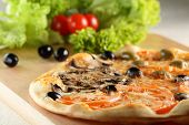pic of hot fresh pizza  - Fresh and hot pizza on the table - JPG