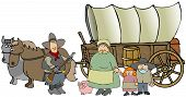 foto of covered wagon  - This illustration depicts a family running a covered wagon pulled by a team of horses - JPG