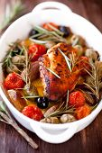 Chicken breast with olives and rosemary. Mediterranean style