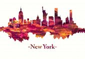 Red Skyline Of New York City, Comprises 5 Boroughs Sitting Where The Hudson River Meets The Atlantic poster