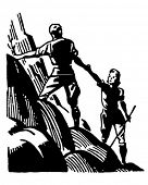 Couple Mountain Climbing - Retro Clipart Illustration