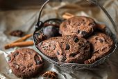 Chocolate Chip Cookies With Chocolate. Chocolate Chip Cookies. Dark Food Photography. - Image. poster