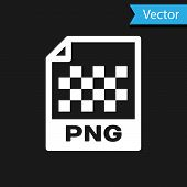 White Png File Document Icon. Download Png Button Icon Isolated On Black Background. Png File Symbol poster