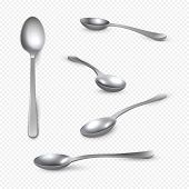 Realistic Metal Spoon. 3d Silver Teaspoon Isolated On White, Stainless Steel Shiny Tablespoon. Vecto poster