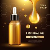 Cosmetics Oil Poster. Golden Transparent Drops Of Oil Extract For Woman Cream Or Liquid Cosmetic Q10 poster
