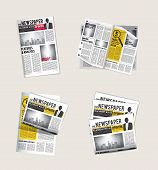 Newspapers Icons. Journalist Collection Of Reading Daily News With Headlines Tabloid Vector Symbols  poster