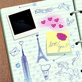 Valentine scrapbook, vector eps8 illustration