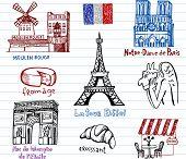 Постер, плакат: Символы Франции в простой стиль рисования