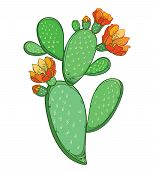 Vector Branch Of Outline Indian Fig Opuntia Or Prickly Pear Cactus With Orange Flower And Spiny Gree poster