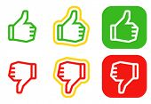 Thumbs up and down icons. Icons are aligned according to the pixel grid. It means that the images are prepared to use in small-sizes. It's specifically for the Web.