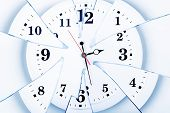 Clock With Broken Glass On A White Background. Chaos Time. Time Passing Concept. Frustration Time, P poster