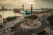 The Monument of Christopher Columbus aerial view in Barcelona Spain poster