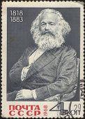 UdSSR ca. 1968: Briefmarke gedruckt in der UdSSR, zeigt das Porträt eines Karl Mark (1818-1883), ca. 1968