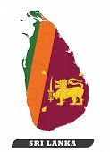 Map Of Sri Lanka. Sri Lankan Flag Used For Background. Sri Lankan Flag Used For Background Drawing B poster