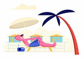 Young Man Lounging And Listening Radio Music On Chaise Lounge Under Sun Umbrella And Palm Tree On Se poster