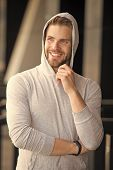 Dream Future Achievement. Guy Bearded Attractive Casual Clothes Hooded. Man With Bristle Smiling Dre poster
