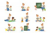Cute Little Boys And Girls Playing And Studying Set, Children Study The Alphabet, Geography, Biology poster