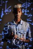 Content Young Black Mathematician With Mohawk Standing Against Projection Screen With Neon Calculati poster