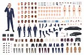 Stylish Man Dressed In Elegant Suit Creation Set Or Diy Kit. Collection Of Body Parts, Clothes, Face poster