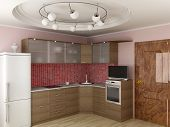 Interior Of Modern Kitchen. 3D Image.