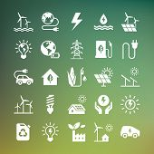 Eco Collection With Various Icons On The Theme Of Ecology And Green Energy. Isolated, Editable And S poster