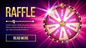 Internet Raffle Roulette Fortune Banner Vector. Shiny Raffle Casino Spinning Wheel For Game And Win  poster
