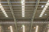 Steel Roof Structure. Moonlight Bulb. Tile Roof. Steel Roof Structure With Roof Tiles. poster