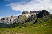 Mountain Scenery Of Italian Dolomites, Mountain Massifs, Snow, Wild Storm Clouds, Mountain Trails, M poster