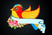 illustration of colorful bird with flower and retro ribbon