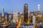 San Francisco Skyline On A Clear Evening Sky. The Financial District As Seen From An Elevated Spot I poster