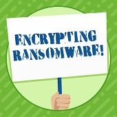 Writing Note Showing Encrypting Ransomware. Business Photo Showcasing Malware That Limits Users From poster
