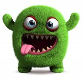 stock photo of bigfoot  - 3 d cartoon green cute furry monster - JPG