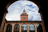 Tower And Courtyard Of Archiginnasio Palace, Bologna