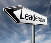 leadership road sign follow team leader or way to success concept business leader or market leader business competition authority manager