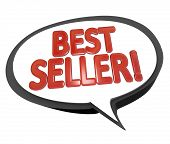 The words Best Seller in red letters inside a speech bubble cloud to give a review or testimonial on