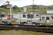 Trains (mules) side Panama Canal