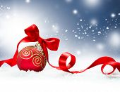 Christmas. Christmas Holiday Background with Red Bauble, Ribbon, Snow and Snowflakes. Christmas Scen