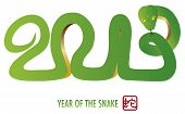 picture of chinese new year 2013  - Chinese Lunar New Year Green Snake Silhouette Forming 2013 with Chinese Stamp with Snake Symbol Illustration - JPG