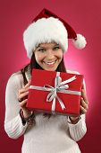 Happy Female Holding Christmas Gift