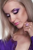 image of eye brow ring  - Glamour portrait of beautiful woman model with eye shadows makeup - JPG