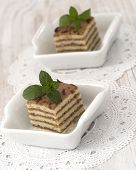 cakes with fresh mint leaves