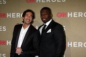 LOS ANGELES - DEC 2:  Adrien Brody; 50 Cent, aka Curtis Jackson arrives to the 2012 CNN Heroes Award
