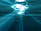 Underwater , Sea Surface With Sunbeam Shining Through