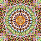 Colorful kaleidoscopic abstract circular pattern.